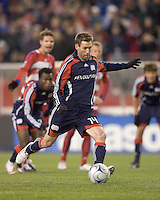 New England Revolution midfielder Steve Ralston (14) scores the winning goal. The New England Revolution defeated FC Dallas, 2-1, at Gillette Stadium on April 4, 2009. Photo by Andrew Katsampes /isiphotos.com