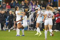 SAN JOSE, CA - DECEMBER 6: Sam Hiatt #17 of the Stanford Cardinal celebrates with Naomi Girma #2 during a game between UCLA and Stanford Soccer W at Avaya Stadium on December 6, 2019 in San Jose, California.