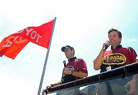 Jun. 17, 2011; Bristol, TN, USA: NHRA top fuel dragster drivers Larry Dixon (left) and teammate Del Worsham during qualifying for the Thunder Valley Nationals at Bristol Dragway. Mandatory Credit: Mark J. Rebilas-