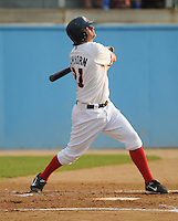 June 21, 2008: Infielder Trevor Lawhorn (21) of the Potomac Nationals, Carolina League affiliate of the Washington Nationals, in a game against the Frederick Keys at G. Richard Pfitzner Stadium in Woodbridge, Va. Photo by:  Tom Priddy/Four Seam Images