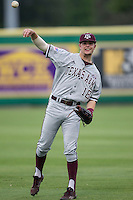 Texas A&M Aggies infielder Nick Choruby (18) warms up before the Southeastern Conference baseball game against the LSU Tigers on April 24, 2015 at Alex Box Stadium in Baton Rouge, Louisiana. LSU defeated Texas A&M 9-6. (Andrew Woolley/Four Seam Images)
