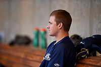 AZL Brewers Blue starting pitcher Nick Belzer (28) sits in the dugout during an Arizona League game against the AZL Rangers on July 11, 2019 at American Family Fields of Phoenix in Phoenix, Arizona. The AZL Rangers defeated the AZL Brewers Blue 5-2. (Zachary Lucy/Four Seam Images)