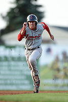 Lowell Spinners outfielder Bryan Hudson (12) running the bases during a game against the Batavia Muckdogs on July 18, 2014 at Dwyer Stadium in Batavia, New York.  Lowell defeated Batavia 11-2.  (Mike Janes/Four Seam Images)