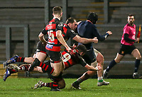 Friday 6th March 2020 | Armagh RFC vs Ballynahinch RFC<br /> <br /> Zak McCall looses his jersey as he battles to the line during the Bank Of Ireland Ulster Senior Cup Final between the City of Armagh RFC and Ballynahinch RFC at Kingspan Stadium, Ravenhill Park, Belfast, Northern Ireland. Photo by John Dickson / DICKSONDIGITAL