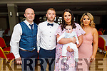 The christening of Timothy Murphy from Tralee in the Ashe Hotel on Saturday. L to r: Daniel Murphy (GF), Timothy Murphy, Lisa Coffey and Louise Coffey (GM).