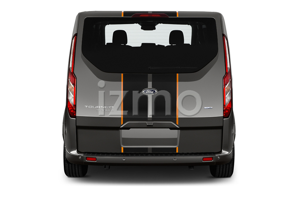 Straight rear view of a 2018 Ford Tourneo Custom Sport 5 Door Passenger Van stock images