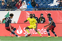 FOXBOROUGH, MA - AUGUST 4: Brian Anunga #27 of Nashville SC dribbles during a game between Nashville SC and New England Revolution at Gillette Stadium on August 4, 2021 in Foxborough, Massachusetts.