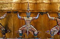 Temple detail at Temple of the Emerald Buddha, Wat Phra Kaew, Bangkok, Thailand
