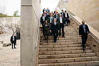 Vice President Pence at Yad Vashem<br /> <br /> Vice President Mike Pence and Mrs. Karen Pence arrive at the Yad Vashem in Jerusalem Thursday, Jan. 23, 2020, to participate in the Fifth World Holocaust Forum for the 75th Anniversary of the Liberation of Auschwitz-Birkenau in Jerusalem, Israel. (Official White House photo by D. Myles Cullen)