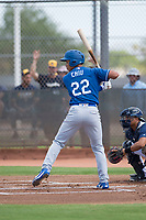 Los Angeles Dodgers infielder Marcus Chiu (22) at bat during an Instructional League game against the Milwaukee Brewers at Maryvale Baseball Park on September 24, 2018 in Phoenix, Arizona. (Zachary Lucy/Four Seam Images)
