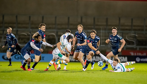 20th November 2020; AJ Bell Stadium, Salford, Lancashire, England; English Premiership Rugby, Sale Sharks versus Northampton Saints; A loose ball is chased by Rohan Janse van Rensburg and Marland Yarde of Sale Sharks