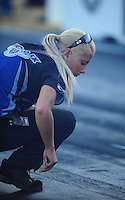 Jul, 8, 2011; Joliet, IL, USA: NHRA funny car crew member Leah Pruett-LeDuc for driver Melanie Troxel during qualifying for the Route 66 Nationals at Route 66 Raceway. Mandatory Credit: Mark J. Rebilas-