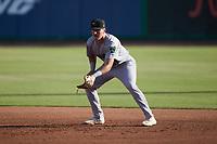 Augusta GreenJackets first baseman Bryson Horne (51) on defense against the Charleston Boiled Peanuts at Joseph P. Riley, Jr. Park on June 26, 2021 in Charleston, South Carolina. (Brian Westerholt/Four Seam Images)