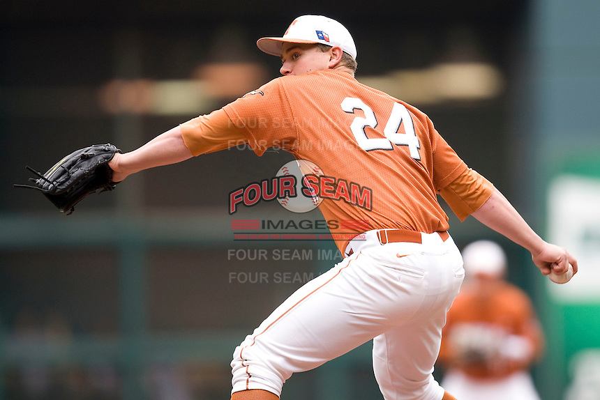 NCAA Baseball featuring the Texas Longhorns against the Missouri Tigers. Green, Cole 4890  at the 2010 Astros College Classic in Houston's Minute Maid Park on Sunday, March 7th, 2010. Photo by Andrew Woolley