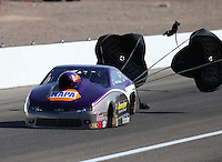 Apr 11, 2015; Las Vegas, NV, USA; NHRA pro stock driver Vincent Nobile during qualifying for the Summitracing.com Nationals at The Strip at Las Vegas Motor Speedway. Mandatory Credit: Mark J. Rebilas-