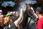 SARATOGA SPRINGS - AUGUST 27: Haveyougoneaway #10 is sprayed down with water after winning the Ballerina Stakes on Travers Stakes Day at Saratoga Race Course on August 27, 2016 in Saratoga Springs, New York. (Photo by Sue Kawczynski/Eclipse Sportswire/Getty Images)