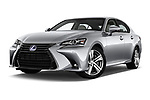 Stock pictures of low aggressive front three quarter view of 2017 Lexus GS Executive-Line 4 Door Sedan Low Aggressive