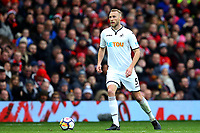 Mike van der Hoorn of Swansea City during the Premier League match between Manchester United and Swansea City at the Old Trafford, Manchester, England, UK. Saturday 31 March 2018
