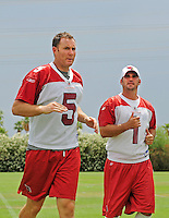 May 20, 2009; Tempe, AZ, USA; Arizona Cardinals punter (5) Ben Graham and kicker (1) Neil Rackers during organized team activities at the Cardinals practice facility. Mandatory Credit: Mark J. Rebilas-