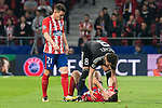 Atletico de Madrid Kevin Gameiro and Saul Niguez and Qarabag Michel during UEFA Champions League match between FK Qarabag and Atletico de Madrid at Wanda Metropolitano in Madrid, Spain. October 31, 2017. (ALTERPHOTOS/Borja B.Hojas)