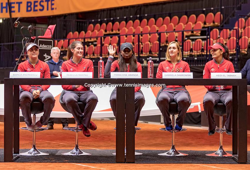Den Bosch, The Netherlands, Februari 8, 2019,  Maaspoort , FedCup  Netherlands - Canada, Draw, Canadian  team, <br /> Photo: Tennisimages/Henk Koster