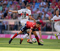 12.05.2018, Football 1. Bundesliga 2017/2018, 34.  match day, FC Bayern Muenchen - VfB Stuttgart, in Allianz-Arena Muenchen. v.li: Holger Badstuber (Stuttgart)  -  Robert Lewandowski (FC Bayern Muenchen). *** Local Caption *** © pixathlon<br /> <br /> +++ NED + SUI out !!! +++<br /> Contact: +49-40-22 63 02 60 , info@pixathlon.de