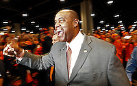 ATLANTA, GA - DECEMBER 31: Head coach Mike London of the Virginia Cavaliers greets fans before the start of the 2011 Chick Fil-A Bowl against the Auburn Tigers at the Georgia Dome on December 31, 2011 in Atlanta, Georgia. Auburn defeated Virginia 43-24. (Photo by Andrew Shurtleff/Getty Images) *** Local Caption *** Mike London