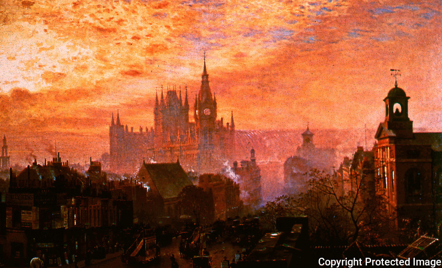 London: St. Pancras Hotel and Station, from Pentonville Road by John O'Connor, 1884.  Reference only.