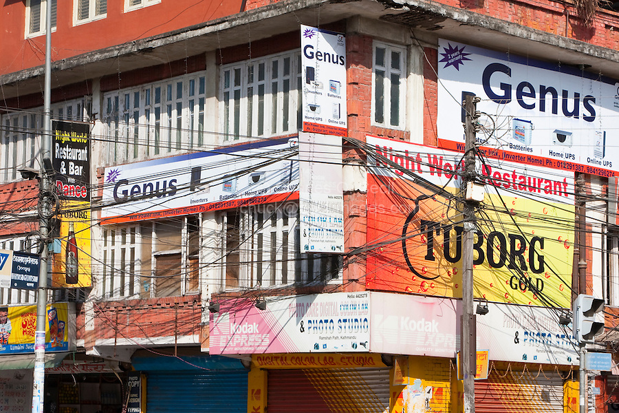 Kathmandu, Nepal.  Downtown Street Corner, Showing Electric and Telephone Lines.  Was there a master plan?