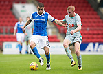 St Johnstone v Hartlepool…22.07.17… McDiarmid Park… Pre-Season Friendly<br />David Wotherpoon holds off Conor Newton<br />Picture by Graeme Hart.<br />Copyright Perthshire Picture Agency<br />Tel: 01738 623350  Mobile: 07990 594431