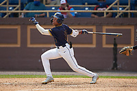 TJ Ash (13) of the North Carolina A&T Aggies at bat against the North Carolina Central Eagles at Durham Athletic Park on April 10, 2021 in Durham, North Carolina. (Brian Westerholt/Four Seam Images)