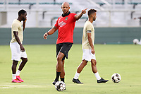 CARY, NC - AUGUST 01: Khano Smith gives instructions to his players during a game between Birmingham Legion FC and North Carolina FC at Sahlen's Stadium at WakeMed Soccer Park on August 01, 2020 in Cary, North Carolina.