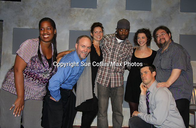 "One Life To Live's Florencia Lozano ""Tea Delgado"" stars with Scott Sickles (R) (writer OLTL and Artistic Director WorkShop Theatre Co) along with Richard Kent Green (blue shirt), Cecily Benjamin (L), Amanda Sayle (2nd R) and Jonathan Pereira (kneeling) in ""Verbatim Verboten - NYC"" on October 18, 2010 at the WorkShop Theater, NYC. (Photo by Sue Coflin/Max Photos)"