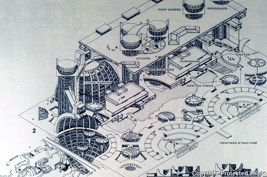 Paolo Soleri: ARCOSANTI existing (?) and proposed structures. ARCOLOGY, P. 119. Photo '77.