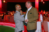 10.05.2014, Postpalast, Muenchen, GER, 1. FBL, FC Bayern Muenchen Meisterfeier, im Bild Josep Guardiola, head coach of Bayern Muenchen talks to Uli Hoeness (R), Uli Hoeness, Josep Guardiola, // during official Championsparty of Bayern Munich at the Postpalast in Muenchen, Germany on 2014/05/11. EXPA Pictures © 2014, PhotoCredit: EXPA/ Eibner-Pressefoto/ EIBNER<br /> <br /> *****ATTENTION - OUT of GER***** <br /> Football Calcio 2013/2014<br /> Bundesliga 2013/2014 Bayern Campione Festeggiamenti <br /> Foto Expa / Insidefoto