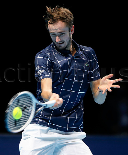 18th November 2020, O2, London, England; Daniil Medvedev of Russia hits a return during the singles group match against Novak Djokovic of Serbia at the ATP  finals in London