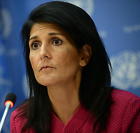 NEW YORK, NY - APRIL 3: U.S. Ambassador to the United Nation Nikki Haley answers questions during a press briefing at the United Nations headquarters, April 3, 2017 in New York City. Haley will serve as U.N. Security Council President for the month of April<br /> <br /> <br /> People:  Nikki Haley