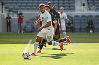 LOS ANGELES, CA - APRIL 17: Cecilio Domínguez #10 of Austin FC moves with the ball during a game between Austin FC and Los Angeles FC at Banc of California Stadium on April 17, 2021 in Los Angeles, California.
