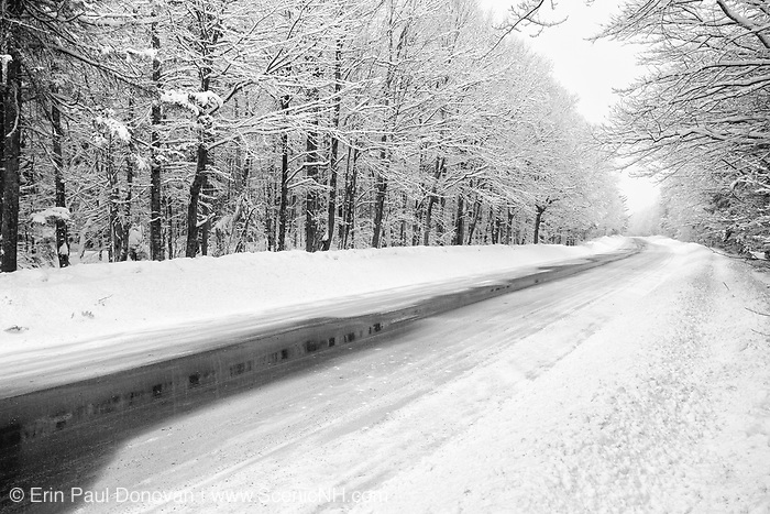 Kancamagus Scenic Byway in the White Mountains, New Hampshire USA during a snow storm, winter months