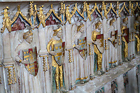 UK, England, Ewelme.  St. Mary the Virgin Church, 15th Century.  Angelic Heralds Line the Tomb of Alice de la Pole, Granddaughter of Geoffrey Chaucer.