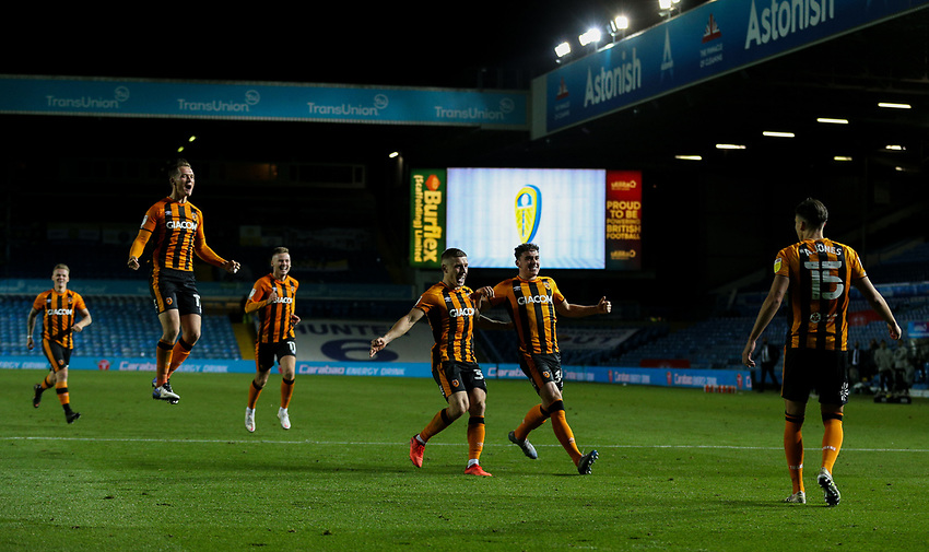 Teammates rush to join him after Hull City's Alfie Jones scored the winning penalty<br /> <br /> Photographer Alex Dodd/CameraSport<br /> <br /> Carabao Cup Second Round Northern Section - Leeds United v Hull City -  Wednesday 16th September 2020 - Elland Road - Leeds<br />  <br /> World Copyright © 2020 CameraSport. All rights reserved. 43 Linden Ave. Countesthorpe. Leicester. England. LE8 5PG - Tel: +44 (0) 116 277 4147 - admin@camerasport.com - www.camerasport.com