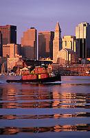Harbor sunrise tugboat, boston, MA