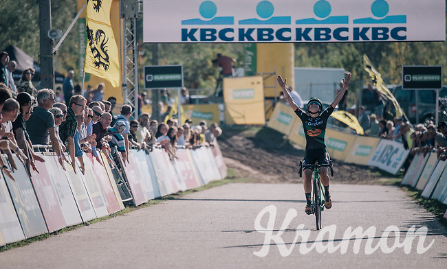 race winner Maud Kaptheijns (NED/Crelan-Charles) crossing the finish line after leading the race from start to finish<br /> <br /> Elite Women's Race<br /> CX Super Prestige Zonhoven 2017