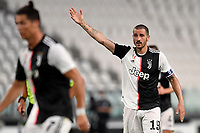 Leonardo Bonucci of Juventus reacts during the Serie A football match between Juventus FC and US Lecce at Juventus stadium in Turin  ( Italy ), June 26th, 2020. Play resumes behind closed doors following the outbreak of the coronavirus disease. Photo Andrea Staccioli / Insidefoto