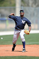 Third baseman Miguel Andujar (19) of the New York Yankees organization during practice before a minor league spring training game against the Toronto Blue Jays on March 16, 2014 at the Englebert Minor League Complex in Dunedin, Florida.  (Mike Janes/Four Seam Images)