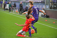 Benfica's defender Catarina Amado (19)  and Anderlecht forward Sarah Wijnants (11) pictured during a female soccer game between RSC Anderlecht Dames and Portugese Benfica Ladies  in the second qualifying round for the Uefa Womens Champions League of the 2020 - 2021 season , Wednesday 18 th of November 2020  in ANDERLECHT , Belgium . PHOTO SPORTPIX.BE | SPP | STIJN AUDOOREN