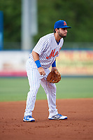 St. Lucie Mets third baseman Michael Paez (5) during the first game of a doubleheader against the Charlotte Stone Crabs on April 24, 2018 at First Data Field in Port St. Lucie, Florida.  St. Lucie defeated Charlotte 5-3.  (Mike Janes/Four Seam Images)