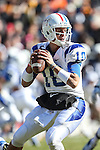 Middle Tennessee Blue Raiders quarterback Logan Kilgore (10) in action during the Armed Forces Bowl game between the Middle Tennessee Blue Raiders and the Navy Midshipmen at the Amon G. Carter Stadium in Fort Worth, Texas. Navy defeated Middle Tennessee 24 to 6.