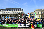 Eager fans wait in Compiegne before the start of the 116th edition of Paris-Roubaix 2018. 8th April 2018.<br /> Picture: ASO/Pauline Ballet | Cyclefile<br /> <br /> <br /> All photos usage must carry mandatory copyright credit (© Cyclefile | ASO/Pauline Ballet)