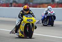 May 1, 2011; Baytown, TX, USA: NHRA pro stock motorcycle rider Michael Phillips during the Spring Nationals at Royal Purple Raceway. Mandatory Credit: Mark J. Rebilas-